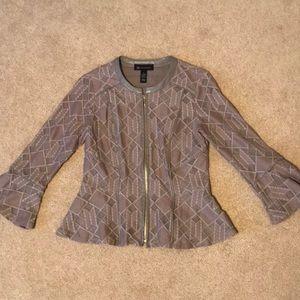 INC Zip-Front Crocheted Peplum Blazer